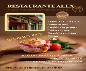 Restaurante Alex – Misericòrdia 2021